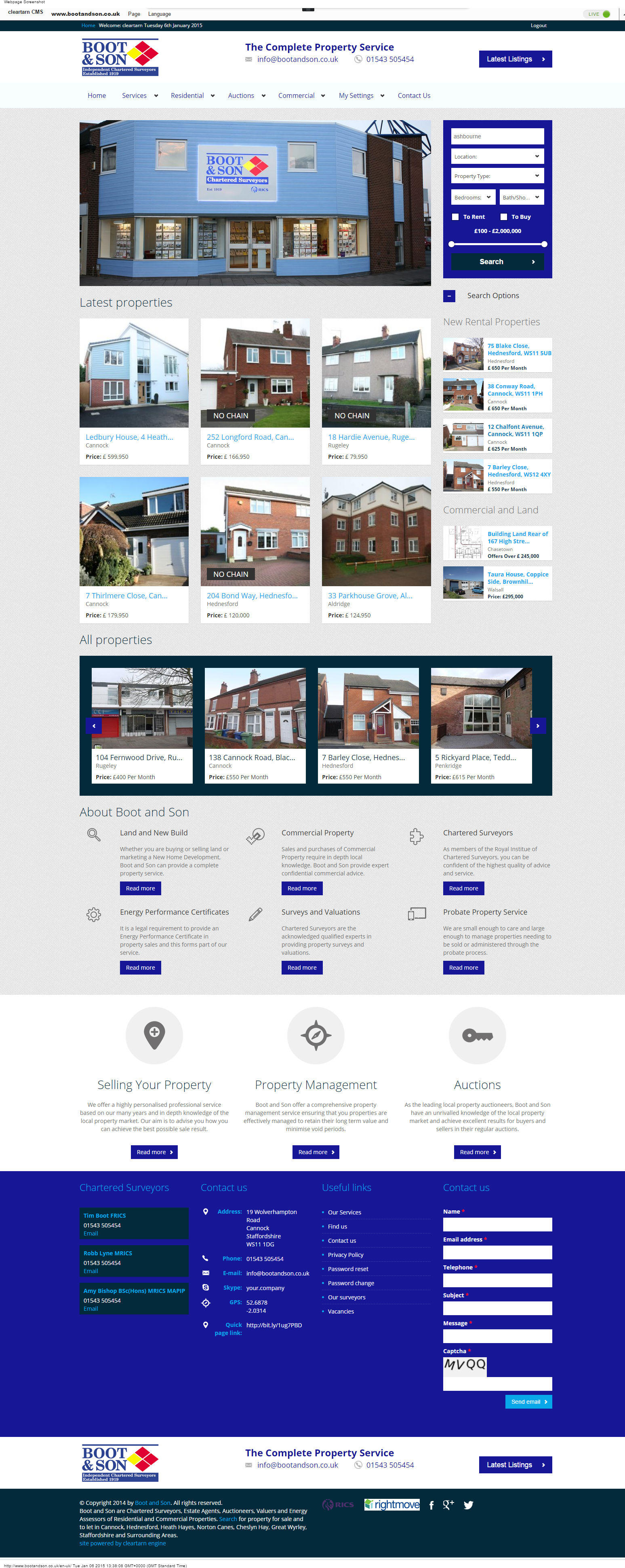 cleartarn website - Boot and Son Estate Agents