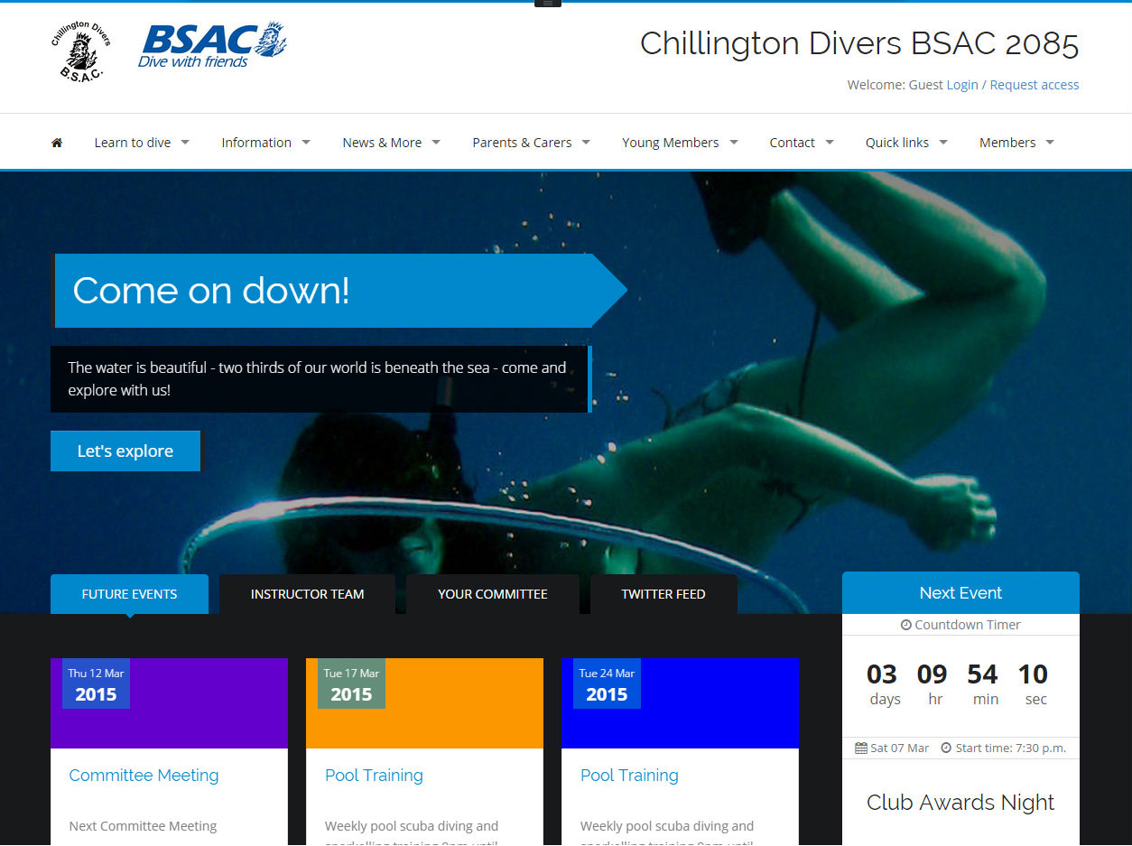 cleartarn website - Chillington Divers
