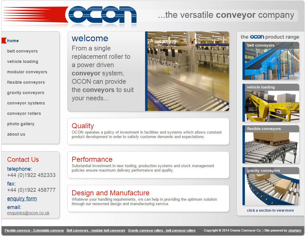 cleartarn website - Ocon Conveyors